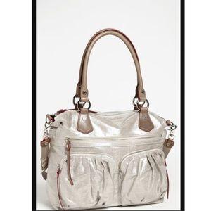 MZ Wallace Silver Glazed Linen Belle Bag
